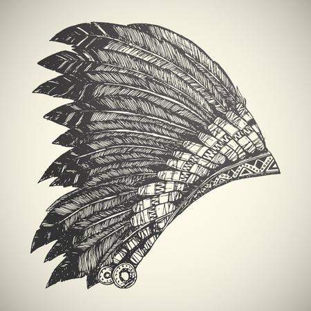 native american headdress: Vintage Hand Drawn Native American Indian Headdress. Illustration