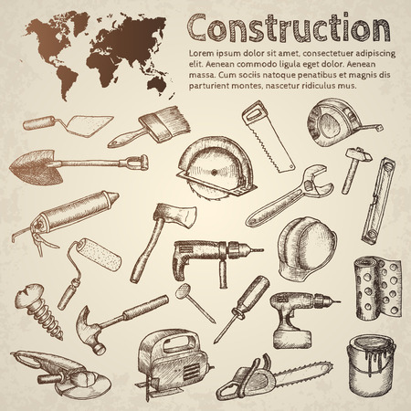 illustration isolated: Big set of construction icons. Hand drawn elements.