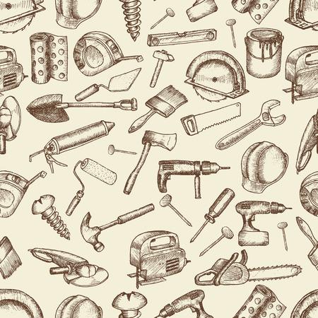 warning saw: Big set of construction icons. Hand drawn elements.