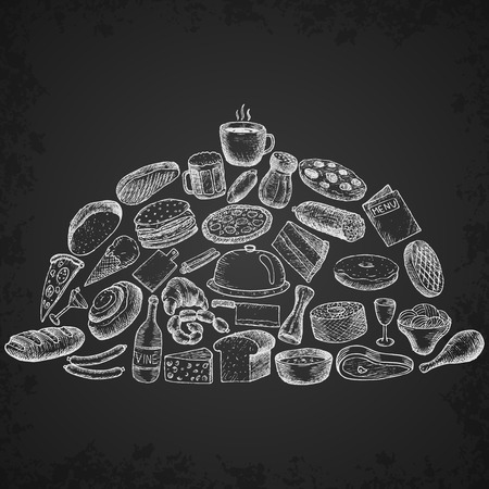 breakfast plate: Set of restaurant icons. Hand drawn objects.