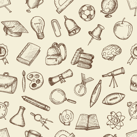 freehand drawing: Freehand drawing school items. Set of drawings.