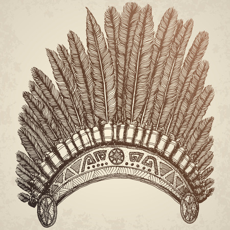 indian headdress: Hand Drawn Native American Indian Headdress. Hand drawn vector illustration.