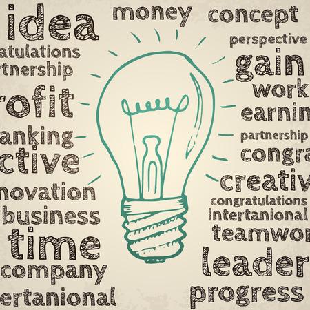 business idea: Idea concept business isons. Hand drawn illustration. Illustration