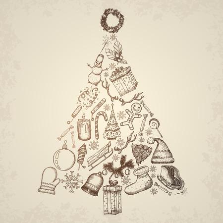 christmas concept: Christmas tree concept icons set. Hand drawn vector.