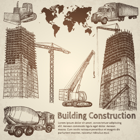 construction equipment: Building construction sketch. Hand drawn vector illustration.