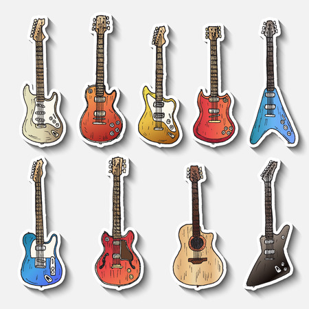 electric guitars: Set of electric guitars. Hand drawn vector. Illustration