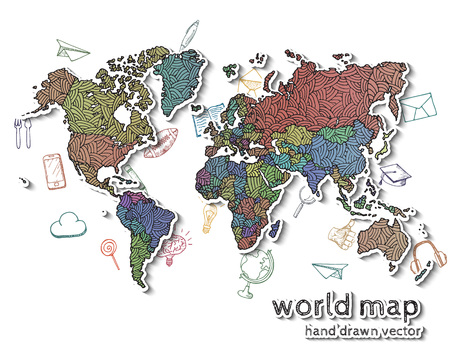 europe vintage: Hand drawn realistic world map. Concept with doodle icons.