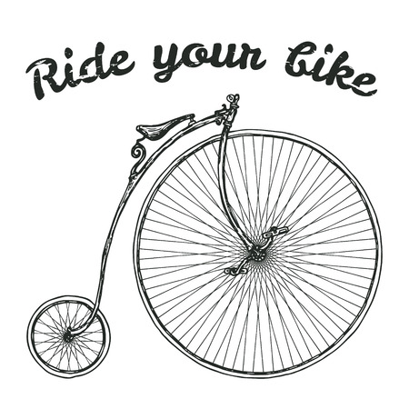 retro cartoon: Ride your bike picture. Hand drawn vintage bicycle. Illustration