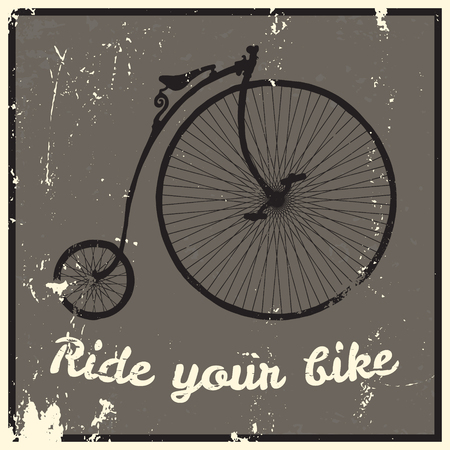 cartoon mountain: Ride your bike picture. Hand drawn vintage bicycle. Illustration