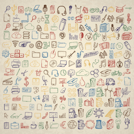 occasions: Big set of icons for different occasions. Hand drawn vector.