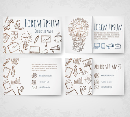 business sign: Business card vector template. Hand drawn elements. Illustration