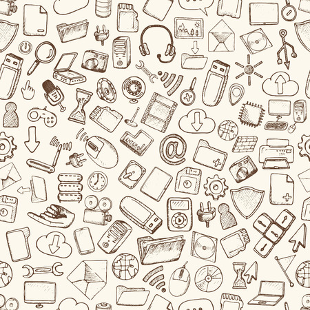 business pen: Hand drawn computer icons set. Vector illustration.