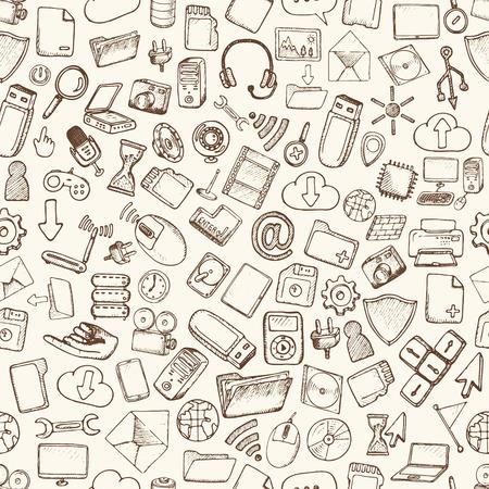 Hand drawn computer icons set. Vector illustration.