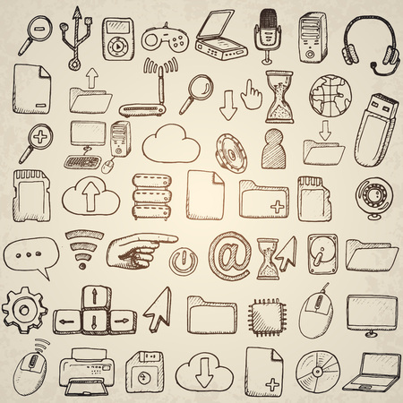 Hand drawn computer icons set. Vector illustration.