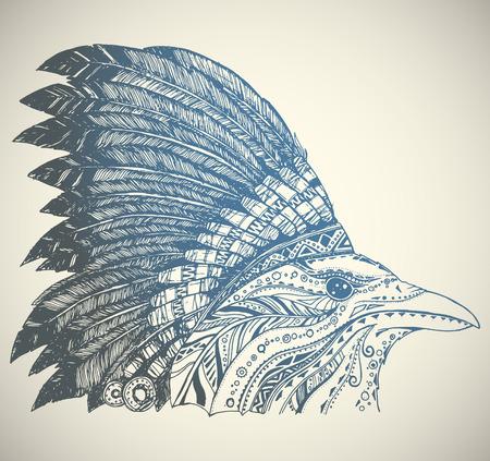 indio americano: Dibujado a mano indio del nativo americano tocado. Corona en jefe indio sombrero de plumas. Vectores