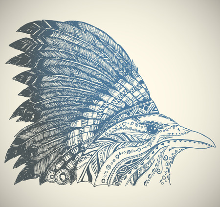 native american headdress: Hand Drawn Native American Indian Headdress. Crown in Indian chief feather hat.