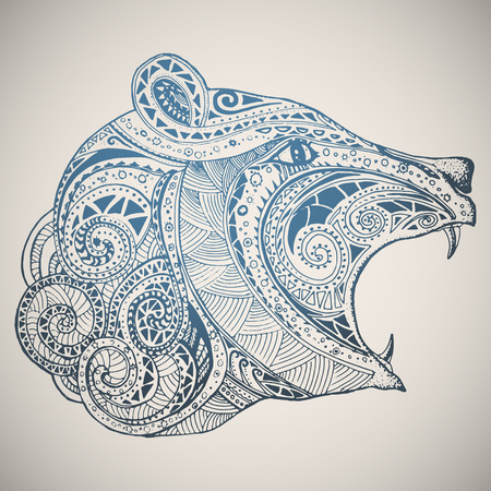 Bear in oriental tribal ornament. Hippie ornament. Hand drawn vector illustration. Illustration