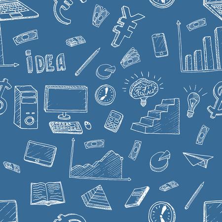 brain illustration: Business Idea doodles icons set. Vector illustration. Business background.