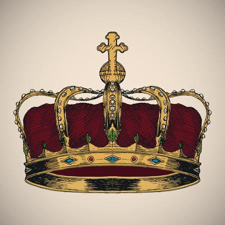 corona de rey: Corona boceto s�mbolo. Dibujado a mano ilustraci�n vectorial.