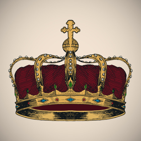 royal person: Crown symbol sketch. Hand drawn vector illustration. Illustration