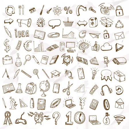pencil drawing: Set of doodle icons. Business subjects and schools.