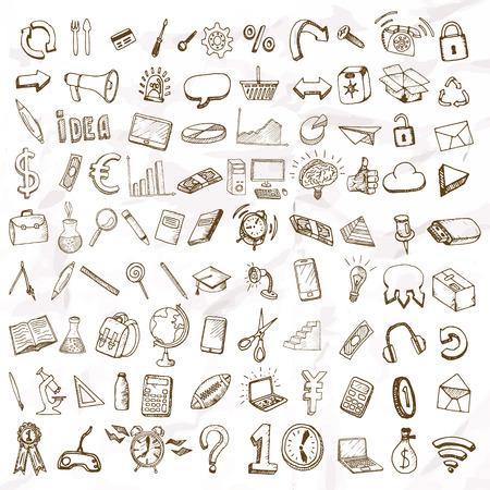 Set van doodle pictogrammen. Zakelijke onderwerpen en scholen. Stock Illustratie