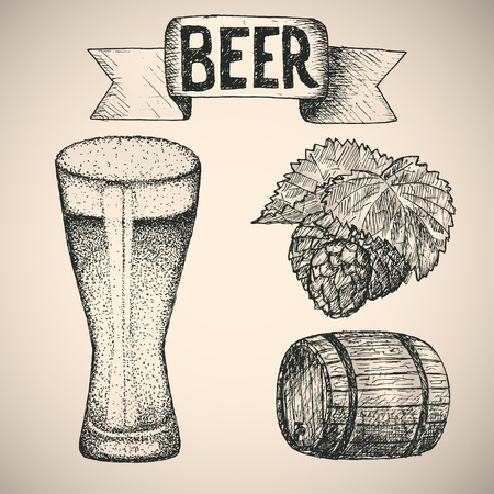 grunge bottle: Vintage style beer sketch. Hand drawn vector illustration.