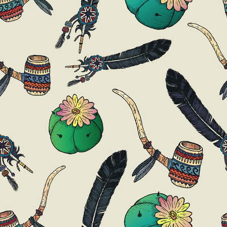 american dream: Indian native seamless pattern. Hand drawn elements. Illustration