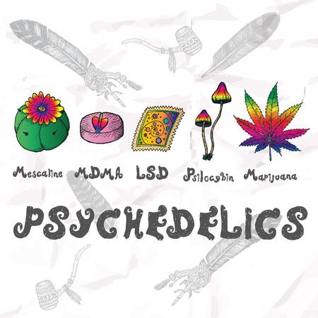 mescaline: Psychedelics set. Hand drawn elements vector illustration. Illustration