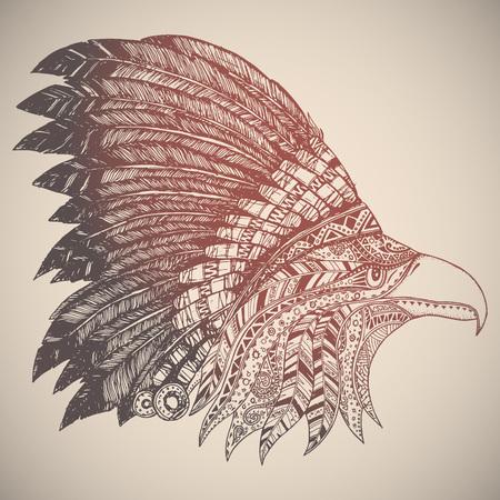 native american headdress: Eagle in oriental tribal ornament. Hippie ornament. Hand drawn.