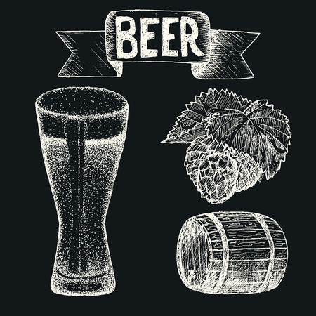 Vintage style beer sketch. Hand drawn vector illustration.