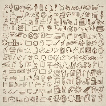 eco icons: Big set of icons for different occasions. Hand drawn vector.