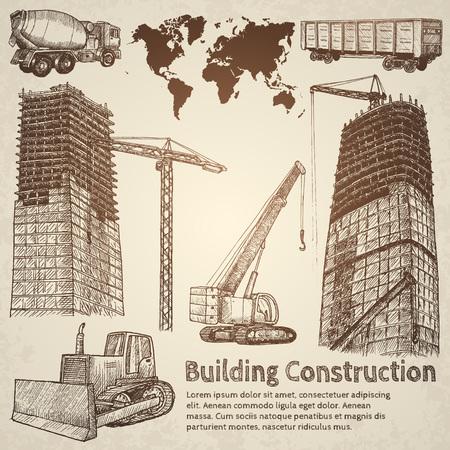 rebuild: Building construction sketch. Hand drawn vector illustration.