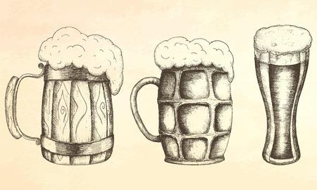 pint of beer: Beer. mug of beer illustration. Illustration
