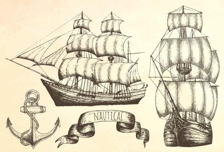 Vintage schip. Items op het mariene thema. Vector Illustratie