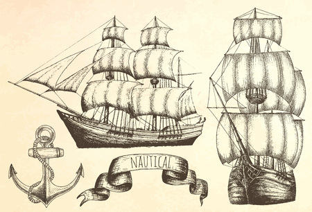 ship sign: Vintage ship. Items on the marine theme.