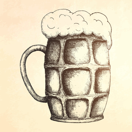 drink bottle: Beer. mug of beer  illustration.