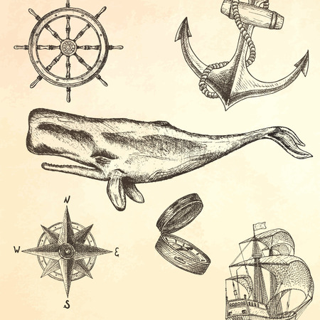sail fin: Engraving technique whale.