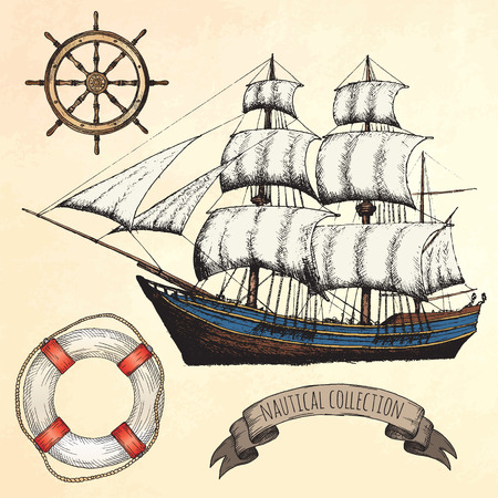 wooden color: Vintage ship. Items on the marine theme. Hand drawn elements.
