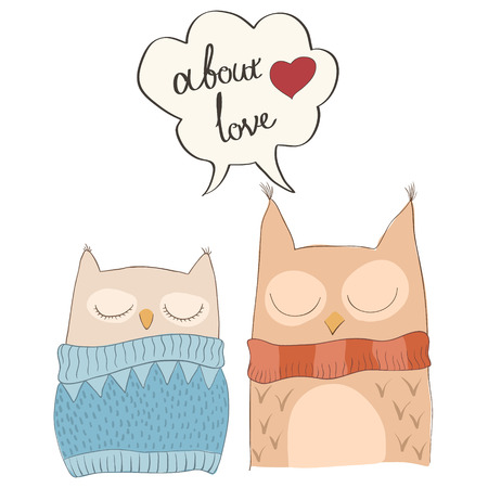 couple background: Cute owls. Hand drawn vector illustration characters. Illustration