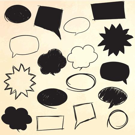 dialog baloon: Set of message bubbles. Hand drawn vector illustration. Illustration