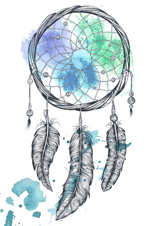 dreams: Dream catcher. Isolated hand drawn vector illustration.