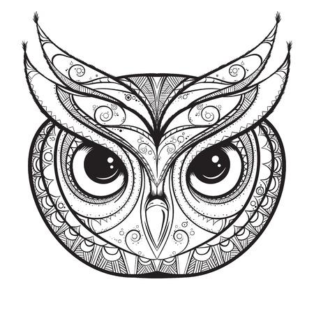 Owl with tribal ornament. Hand drawn vector illustration. Çizim