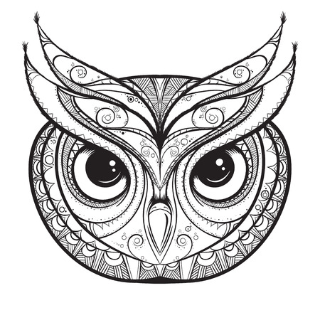 wise old owl: Owl with tribal ornament. Hand drawn vector illustration. Illustration