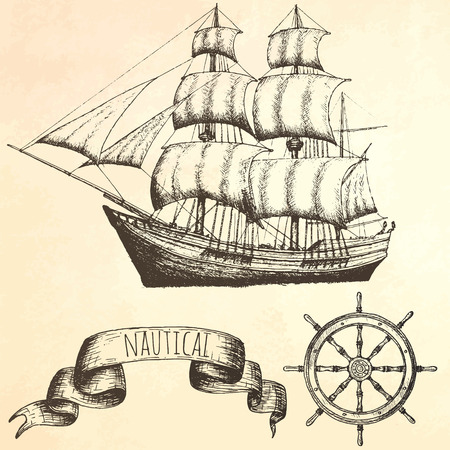 vintage ship: Vintage ship. Items on the marine theme. Hand drawn elements.