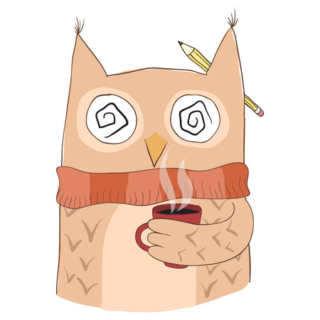 owl illustration: Cute owl with coffee cup. Hand drawn vector.