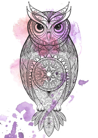 totem: Owl with tribal ornament. Hand drawn vector illustration. Illustration