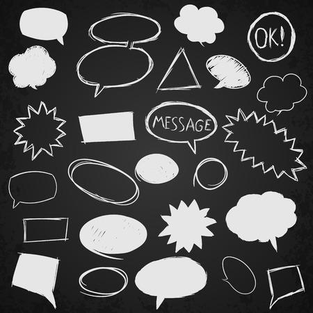 Set of message bubbles. Hand drawn vector illustration. Illustration