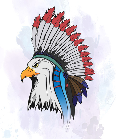 cartoon eagle: Eagle in a national Indian hat. Vector isolated illustration.