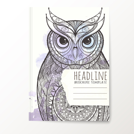 catalog cover: Notebook template with hand drawn owl. Vector editable notebook cover.